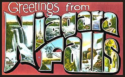 Photograph - Greetings From Niagara Falls by Vintage Collections Cites and States