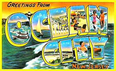 Photograph - Greetings From Ocean City New Jersey by Vintage Collections Cites and States