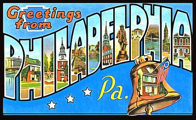 Travel - Greetings From Philadelphia Pennsylvania  by Vintage Collections Cites and States