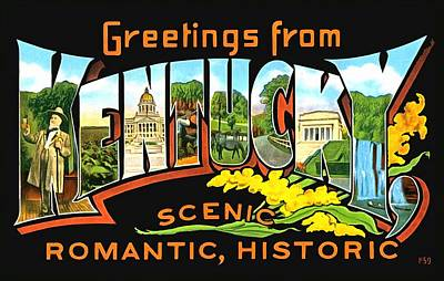 Photograph - Greetings From Scenic Kentucky by Vintage Collections Cites and States