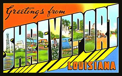 Photograph - Greetings From Shreveport Louisiana by Vintage Collections Cites and States