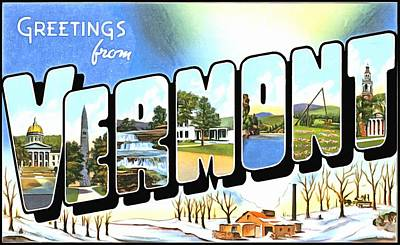 Photograph - Greetings From Vermont by Vintage Collections Cites and States