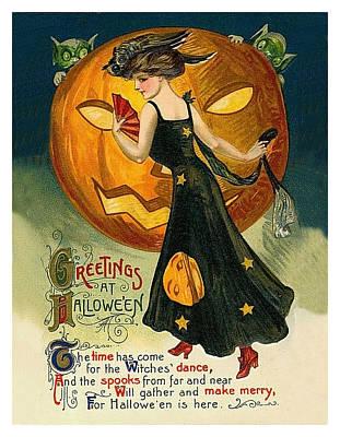 Pumpkin Art Card Mixed Media - Greetings In Halloween by Long Shot