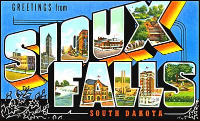 Photograph - Greets From Sioux Falls South Dakota by Vintage Collections Cites and States