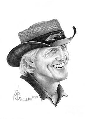 Sports Portrait Drawings Drawing - Greg Norman by Murphy Elliott