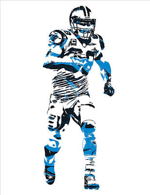 Panther Mixed Media - Greg Olsen Carolina Panthers Pixel Art 7 by Joe Hamilton