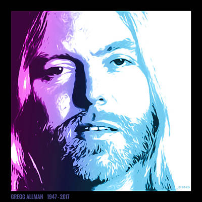 Digital Art - Gregg Allman 1947 2017 by Greg Joens