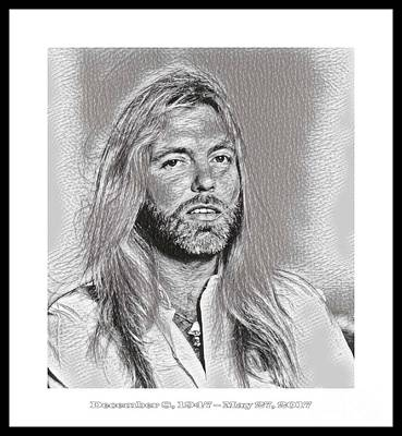 Gregg Allman Mixed Media - Gregg Allman Tribute Art by Pd