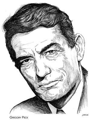 Pecking Drawing - Gregory Peck by Greg Joens