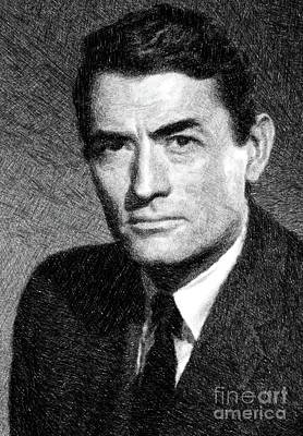 Musicians Drawings Rights Managed Images - Gregory Peck, Vintage Actor by JS Royalty-Free Image by John Springfield
