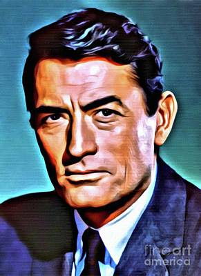Business Digital Art - Gregory Peck, Vintage Hollywood Actor by Mary Bassett