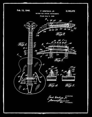 Gretsch Photograph - Gretsch Guitar Bridge Patent 1940 Black by Bill Cannon