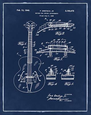 Gretsch Photograph - Gretsch Guitar Bridge Patent 1940 Blue by Bill Cannon