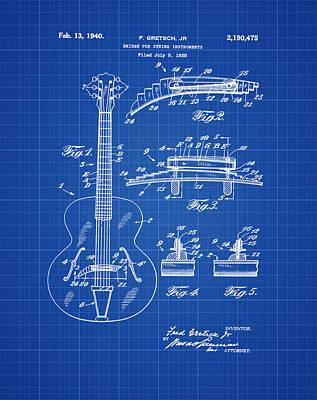 Gretsch Photograph - Gretsch Guitar Bridge Patent 1940 Blue Print by Bill Cannon