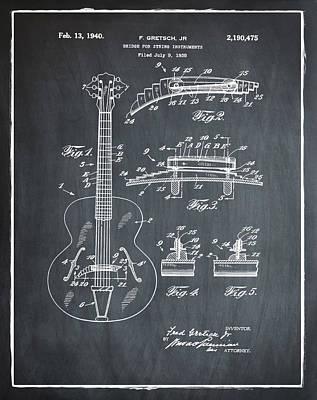 Gretsch Photograph - Gretsch Guitar Bridge Patent 1940 Chalk by Bill Cannon