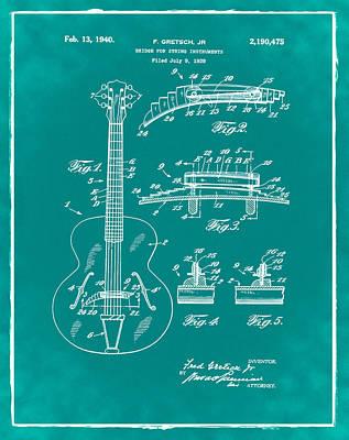 Gretsch Photograph - Gretsch Guitar Bridge Patent 1940 Green by Bill Cannon