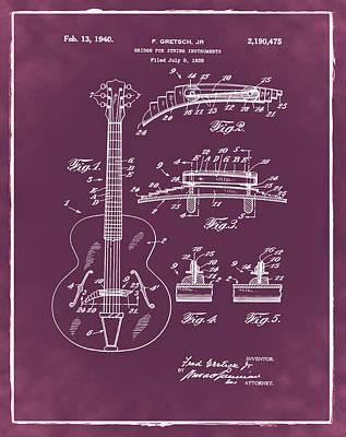 Gretsch Photograph - Gretsch Guitar Bridge Patent 1940 Red by Bill Cannon