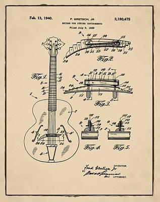 Gretsch Photograph - Gretsch Guitar Bridge Patent 1940 Sepia by Bill Cannon