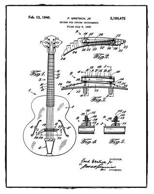 Gretsch Photograph - Gretsch Guitar Bridge Patent 1940 White by Bill Cannon