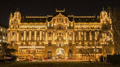 Budapest Hungary Hotels Photograph - Gresham Palace Holiday Lights Painterly by Joan Carroll