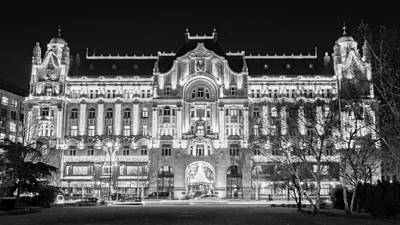 Hungarian Photograph - Gresham Palace Night Bw by Joan Carroll