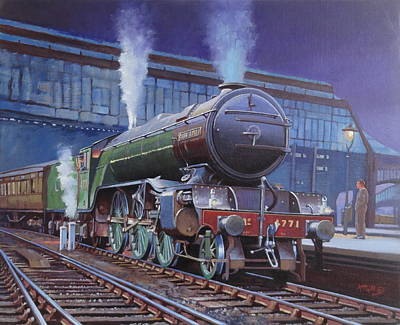 Nighttime Painting - Gresley Green Arrow Class. by Mike  Jeffries