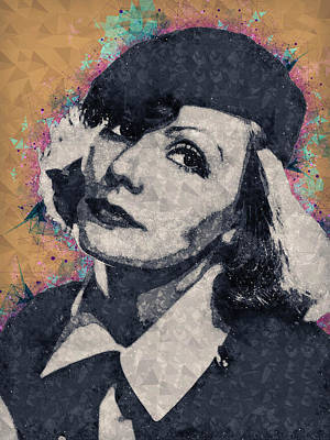 Mixed Media - Greta Garbo Illustration by Studio Grafiikka