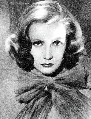 Musicians Drawings Rights Managed Images - Greta Garbo, Vintage Actress by JS Royalty-Free Image by John Springfield