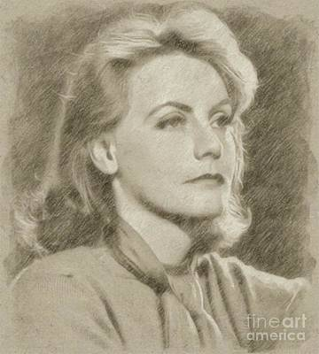 Star Trek Drawing - Greta Garbo Vintage Hollywood Actress by Frank Falcon