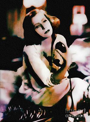Painting - Greta Garbo - Vintage Painting by Ian Gledhill