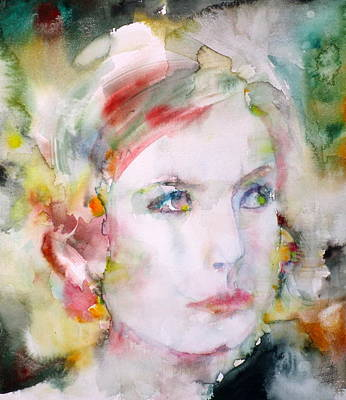 Painting - Greta Garbo - Watercolor Portrait.3 by Fabrizio Cassetta