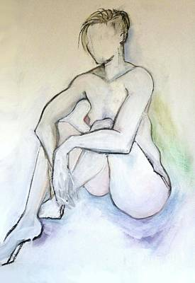 Art Print featuring the pastel Gretchen - Female Nude Drawing by Carolyn Weltman