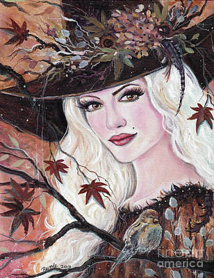 Painting - Gretchen Woodland Witch by Renee Lavoie