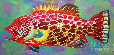 Swim Party Painting - Gretta Grouper by Pamela Ayres