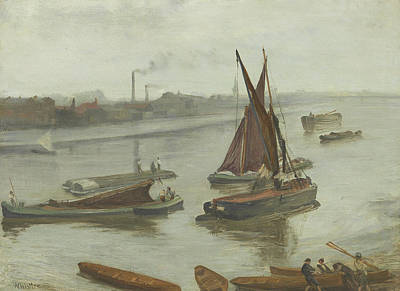 Grey And Silver Old Battersea Reach Art Print by James Abbott McNeill Whistler