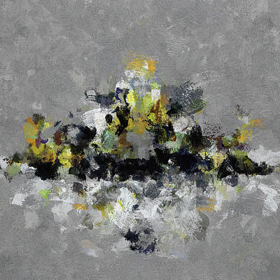 Surrealist Painting - Grey And Yellow Abstract Cityscape Art by Ayse Deniz