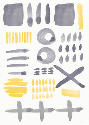 Dot Painting - Grey And Yellow Shapes- Abstract Painting by Linda Woods