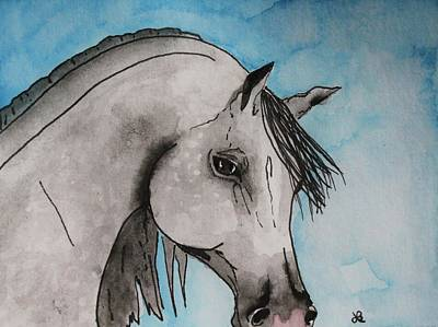 White Horse Painting - Grey Arabian by LKB Art and Photography