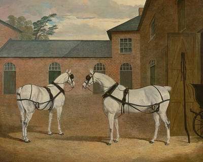 Painting - Grey Carriage Horses In The Coachyard At Putteridge Bury, Hertfordshire by Treasury Classics Art