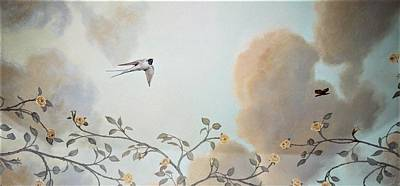 Painting - Grey Cloudy Flight By Dove by Suzn Art Memorial