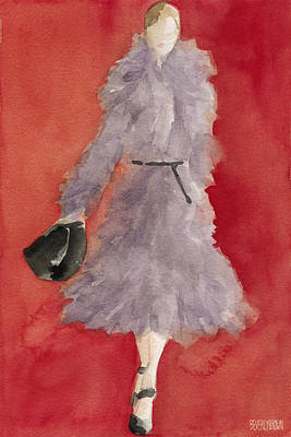 Woman Painting - Grey Coat - Watercolor Fashion Illustration by Beverly Brown