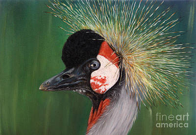 Grey Crowned Crane - Oil On Canvas Art Print by Svetlana Ledneva-Schukina