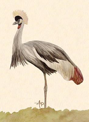 Serengeti Painting - Grey Crowned Crane by Angeles M Pomata