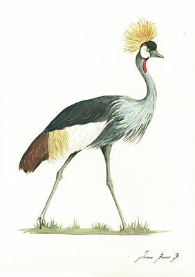 African Painting - Grey Crowned Crane by Juan Bosco