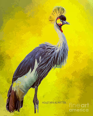 Digital Art - Grey Crowned Crane by Moustafa Al Hatter