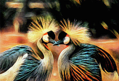 Mixed Media - Grey Crowned Cranes by Susan Maxwell Schmidt