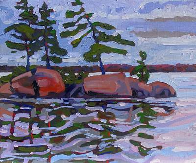 1000 Islands Wall Art - Painting - Grey Day Pines by Phil Chadwick