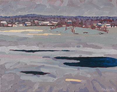 St. Lawrence River Painting - Grey Day River by Phil Chadwick