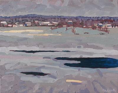 Grey Day River Art Print by Phil Chadwick
