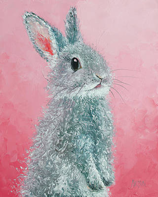 Painting - Grey Easter Bunny by Jan Matson